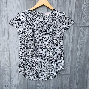 LOFT Outlet Black & White Leopard Print Blouse